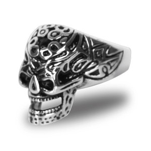 Stainless Steel Tribal Tattoo Skull Biker Ring