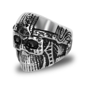 Stainless Steel Cyborg Skull Biker Ring