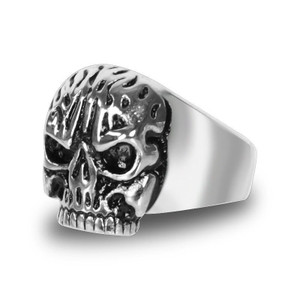 Stainless Steel Fear No Evil Skull Biker Ring