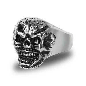 Stainless Steel Mister Skull Biker Ring