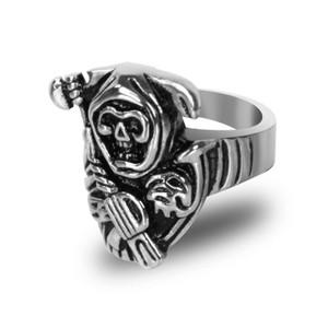 Stainless Steel Grim Reaper Biker Ring