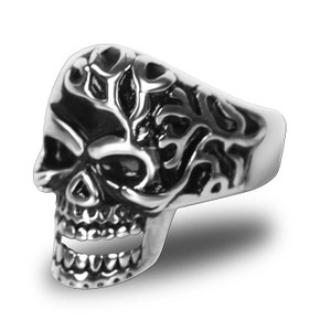 Stainless Steel Mad Man Skull Biker Ring