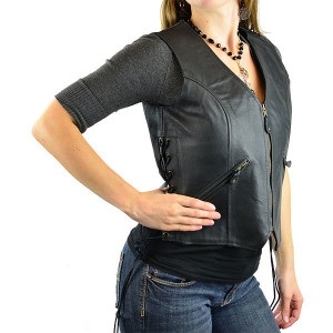 Jafrum LV755 Women's Black Leather Zipper and Side Lace Biker Motorcycle Vest