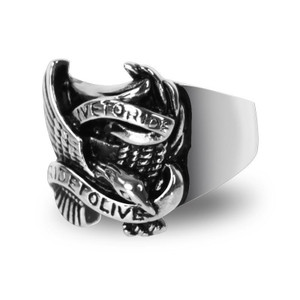 Stainless Steel Live To Ride Biker Ring