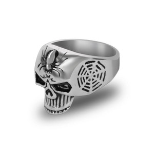 Stainless Steel Spider Skull Biker Ring