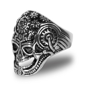 Stainless Steel Quantum Mechanical Brain Biker Ring