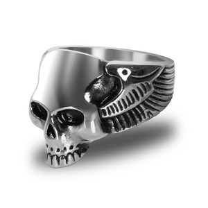 Stainless Steel Life After Death Biker Ring