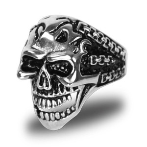 Stainless Steel Demon In Chains Biker Ring