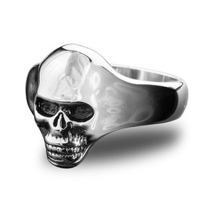 Stainless Steel Small Skull Biker Ring