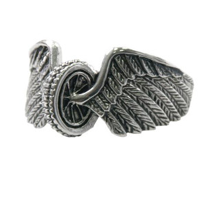 Stainless Steel Winged Wheel Biker Ring