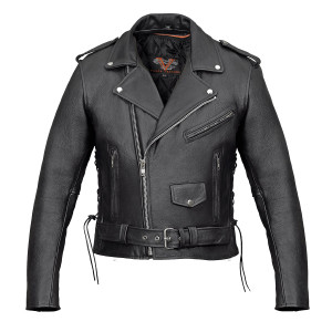 Premium Leather Classic Motorcycle Jacket Lace Sides & Z/O Liner