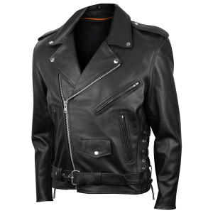 Premium Leather Classic Motorcycle Jacket Lace Sides & Z/O Liner - side