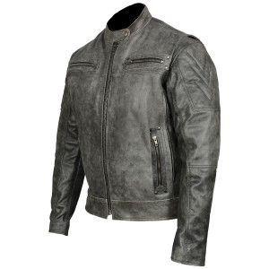 High Mileage HMM542DG Men's Distressed Gray Premium Cowhide Vented and Padded Biker Scooter Jacket - Side View