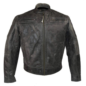 Distressed Gray Padded & Vented Leather Scooter Jacket
