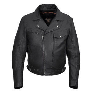 Vance VL509 Men's Functional Pockets Black Premium Cowhide Biker Cruiser Jacket