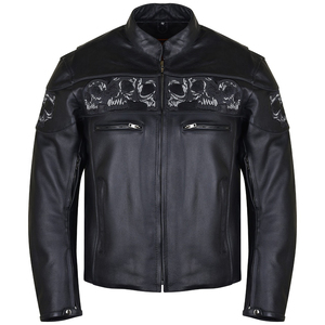 Vance VL535S Men's Black Reflective Skull Leather Biker Motorcycle Riding Jacket