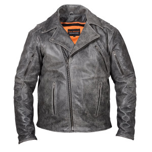 High Mileage HMM517DG Men's Beltless Dual Conceal Carry Distressed Gray Premium Cowhide Leather Biker Motorcycle Jacket