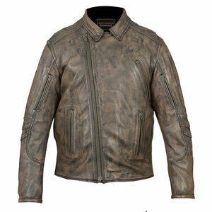 High Mileage HMM517DB Men's Dual Conceal Carry Distressed Brown Premium Cowhide Leather Biker Motorcycle Riding Jacket