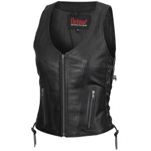 Womens Open Neck Side Lace Zipper Front Cowhide Leather Vest