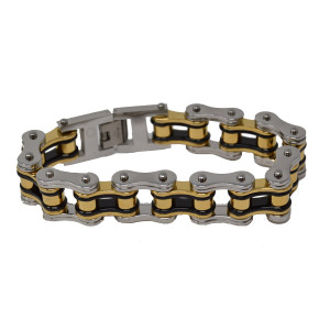 Men's 3/4 Inch Wide Tricolor Black, Silver, Gold Bike Chain Bracelet