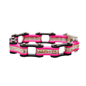 Black and Pink Ladies Bike Chain Bracelet with White Crystal