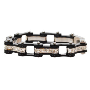 VJ1117 Womens Black and Black with white Crystal Stainless Steel Lady Biker Bracelet