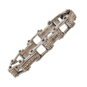 VJ1105 Womens Silver with White Crystal Stainless Steel Lady Biker Bracelet Centers