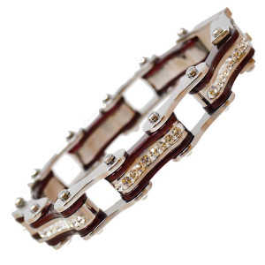 VJ1114 Womens Silver and Candy Red with White Crystal Stainless Steel Lady Biker Bracelet