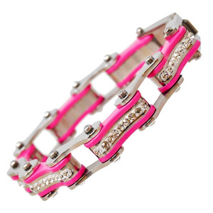 VJ1118 Womens Silver and Pink with white Crystal Stainless Steel Lady Biker Bracelet