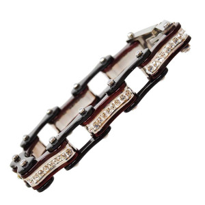VJ1106 Womens Black and Candy Red with White Crystal Stainless Steel Lady Biker Bracelet