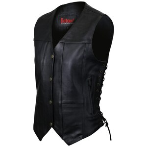 Jafrum LV777 Womens Black Six Pocket Concealed Carry Premium Cowhide Leather Vest