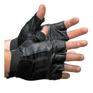 Vance VL428 Mens Black Shorty Stretch Leather Gloves - Black