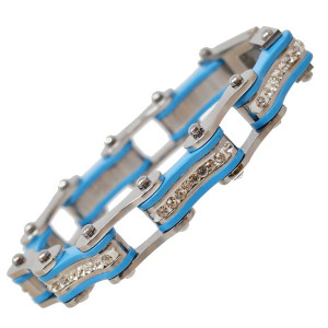 VJ1104 Womens Silver and Turquoise with White Crystal Stainless Steel Lady Biker Bracelet