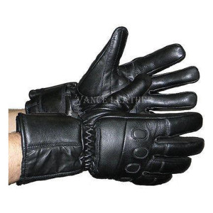 Vance VL445 Mens Padded Knuckles Black Leather Motorcycle Gloves