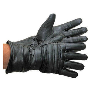 Vance VL401 Mens Black Insulated Winter Riding Gauntlet Leather Motorcycle Gloves With Rain Covers