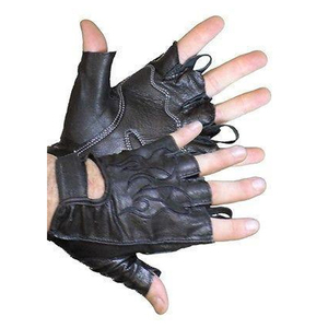 Vance VL447 Mens Black Leather Fingerless Gloves With Gel Palm