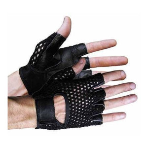 Vance VL429 Mens Leather and Mesh Fingerless Gloves