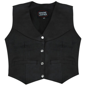 Womens LV815 Classic 4 Button Leather Vest