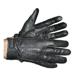 Vance VL407 Mens Black Perforated Leather Driving Gloves