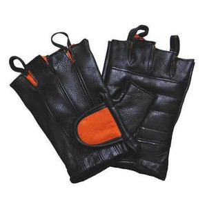 Vance Leather Black And Orange Padded Palm Fingerless Glove With Pull Tabs