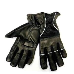 Reflective Piping And Elastic Cuff Leather Padded Gloves
