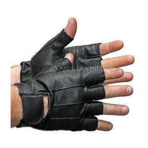 Vance VL406 Mens Black Perforated Shorty Leather Motorcycle Gloves