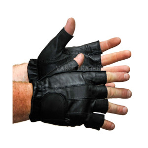 Vance VL405 Mens Black Gel Palm Shorty Leather Motorcycle Gloves