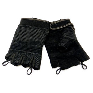 Vance VL451 Mens Black Mesh Gel Palm Fingerless Gloves