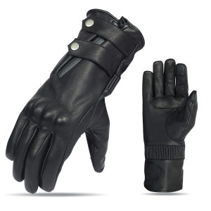 Vance VL468 Mens Black Premium Leather Armored Gauntlet Gloves