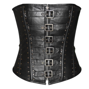Ladies 6 Buckle Zip Front Studded Corset