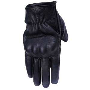 Vance VL474 Mens Black Cowhide Leather Knuckle Armored Riding Gloves