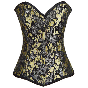 Ladies Brocade Black With Silver and Gold Corset