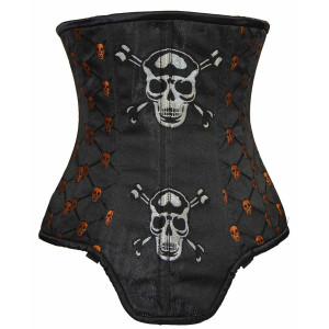 Ladies Brocade With Skulls Corset