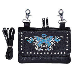 Ladies Belt Loop 7.5x5 Butterfly Design Purse - Blue